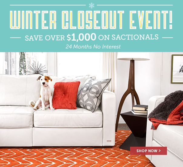 Winter Closeout Event - Save Over $1,000 On Sactionals + 24 Months No Interest Financing!