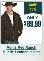 Mens Red Ranch Suede Leather Jacket