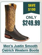 Mens Justin Smooth Ostrich Western Boots