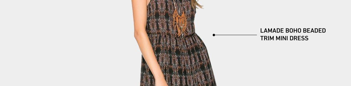 LAMADE Boho Beaded Mini Dress