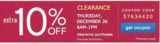 Extra 10% off Clearance. Get cooupon.