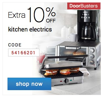 Extra 10% off small appliances. Shop now.