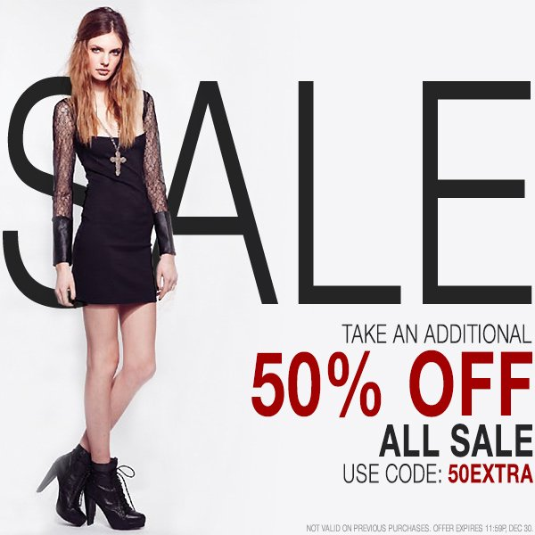Take 50% off select styles. Code: GOODBYE2013.
