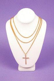 Triple Chain Cross Necklace