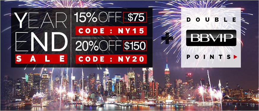 Year End Sale - 15% Off $75 Use Code NY15 - 20% Off $150 Use Code NY20