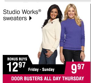 9.97  Studio Works sweaters Misses, petites and women