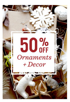 50% off ornaments + decor