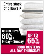 Up to 65% off Entire stock of pillows
