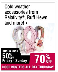 70% off Cold weather accessories from Relativity, Ruff Hewn and more!