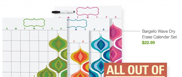 Bargello  Wave Dry Erase Calendar Set $22.99 »