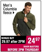Men's Columbia fleece. 29.97 after 2PM. 24.97 BEFORE 2PM.