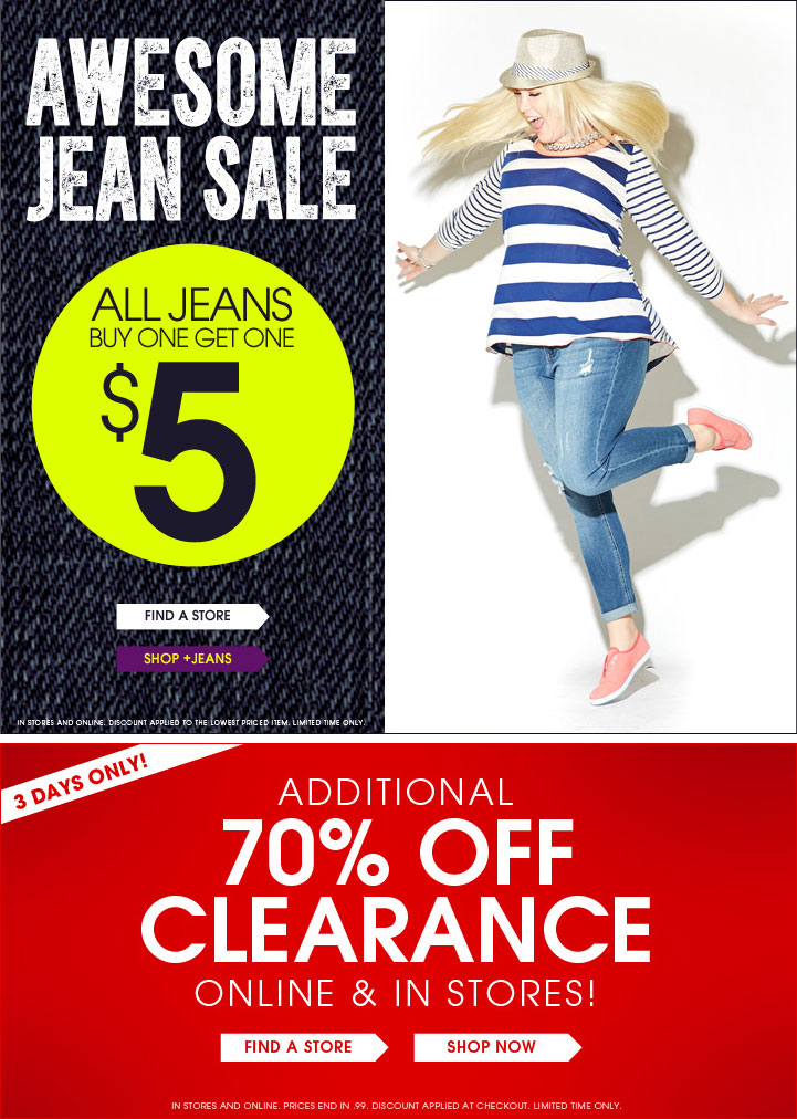 Awesome Jean Sale - All Jeans BOGO $5 + Additional 70% off Clearance in stores & online