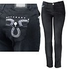 Womens Vicky Studded & Stitched with Rhinestones Black Skinny Jeans