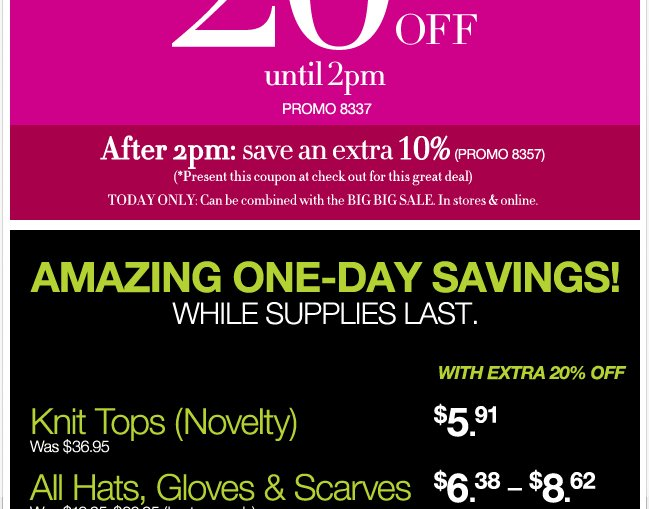 Save an Extra 20% Before 2pm! After 2pm Save an Extra 10%!