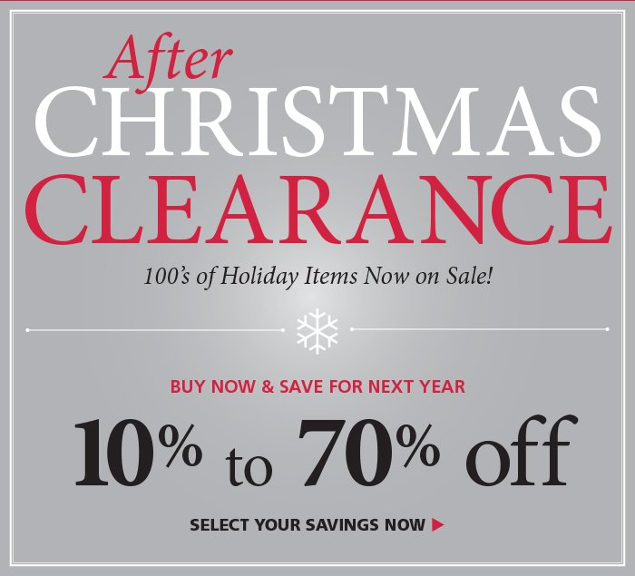 After Christmas Clearance - up to 70% off