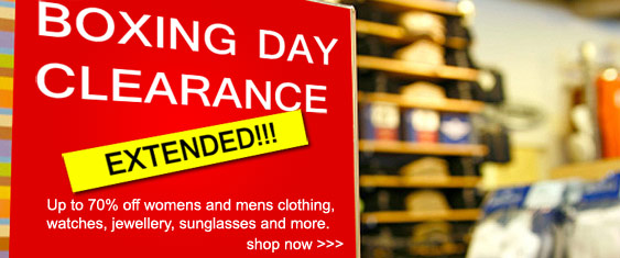 Boxing Day Clearance Sale. Up to 70% off womens and mens clothing, watches, jewellery, sunglasses and more.