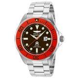Invicta 14658 Men's Grand Diver Brown Dial Red Bezel Steel Bracelet Dive Watch