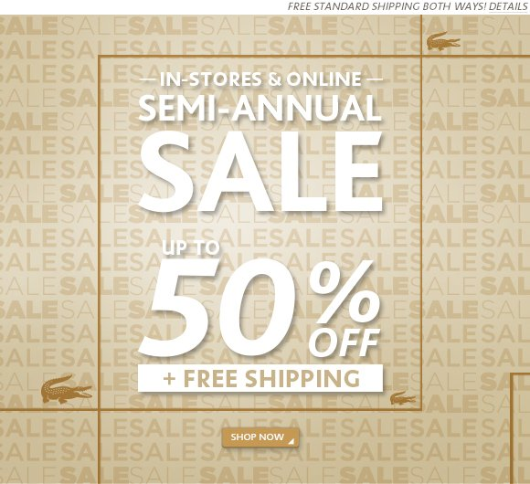 SEMI ANNUAL SALE - UP TO 50% OFF + FREE SHIPPING