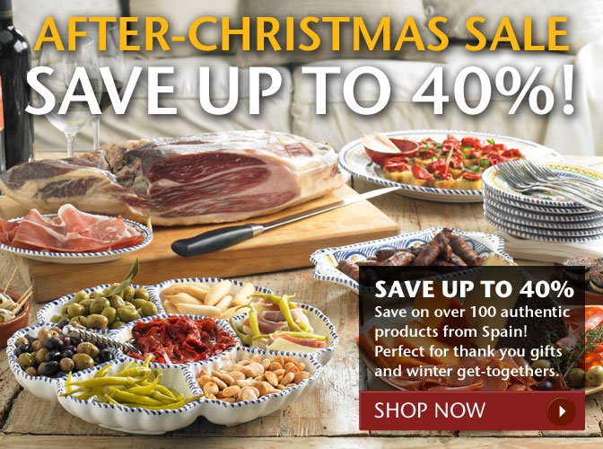 After-Christmas Sale - Save Up To 40%! - Save on over 100 authentic products from Spain! Perfect for thank you gifts and winter get-togethers. Shop Now