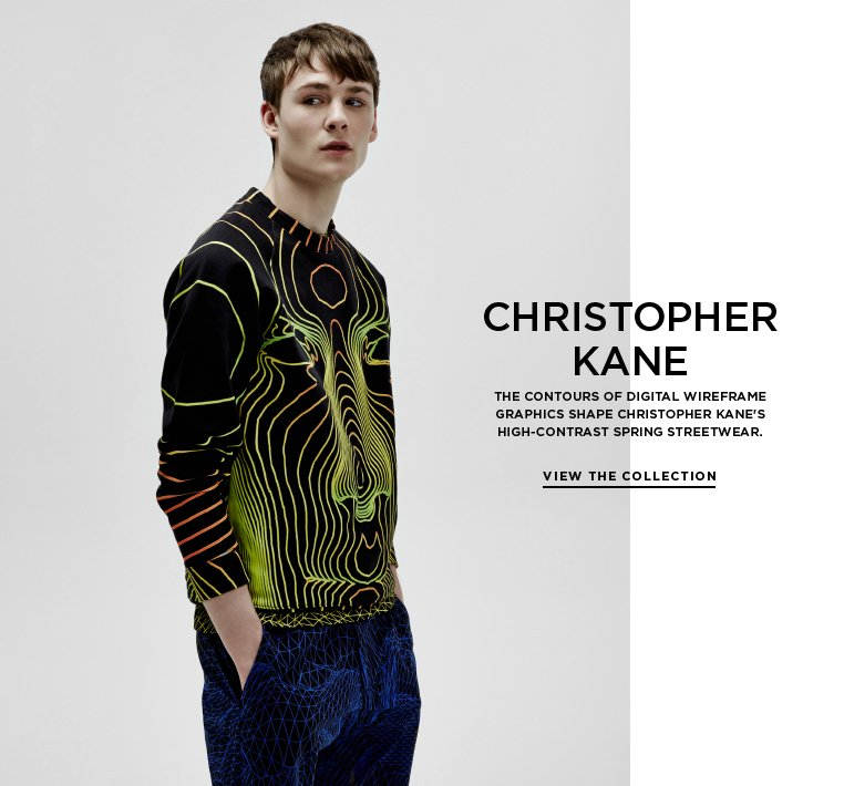 Digital forms from Christopher Kane The contours of digital wireframe graphics shape Christopher Kane's high-contrast Spring streetwear.