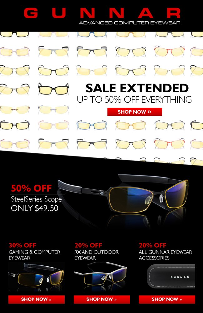 After Xmas Sale Extended! 50% off SteelSeries Scope. All Eyewear and Accessories Also on Sale