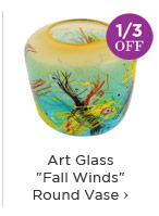 Art Glass Fall Winds Round Vase