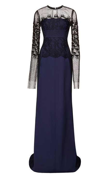 Long Sleeve Gown With Embroidered Overlay