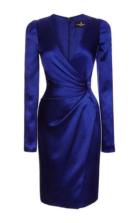 Long Sleeve V-Neck Dress with Asymmetrical Draping
