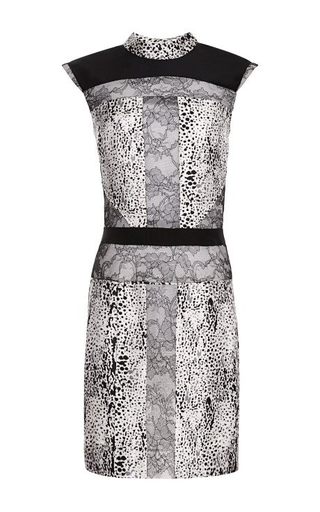 Sleeveless Dress with Lace and Crepe Inserts