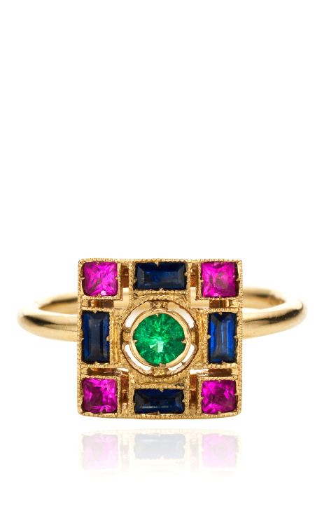 White GOld Ring with Emeralds, Blue and Pink Sapphires