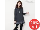 Frilled Chiffon-Layered Tunic