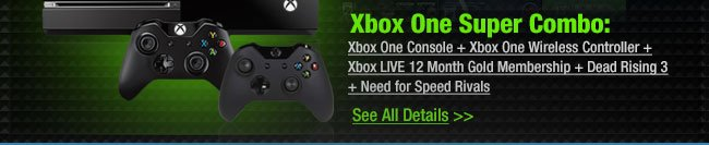 Xbox One Console + Xbox One Wireless Controller + Xbox LIVE 12 Month Gold Membership + Dead Rising 3 + Need for Speed Rivals