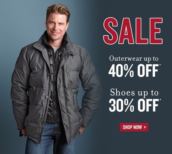 Dual - Outerwear up to 40% Off and Shoes up to 30% Off