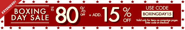 Up to 80% off + 15% off Boxing Day Sale!