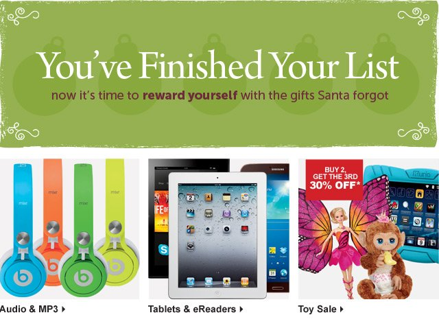 You've Finished Your List - now its time to reward yourself with the gifts Santa forgot