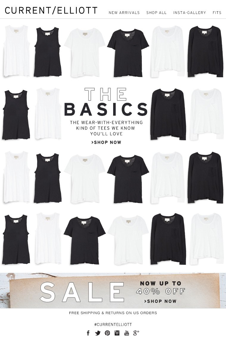 THE BASICS THE WEAR-WITH-EVERYTHING KIND OF TEES WE KNOW YOU'LL LOVE >SHOP NOW