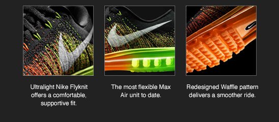 Ultralight Nike Flyknit offers a comfortable, supportive fit. | The most flexible Max Air unit to date. | Redesigned Waffle pattern delivers a smoother ride.