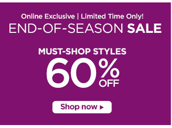 60% off select styles