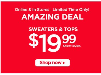 Sweaters & Tops $19.99