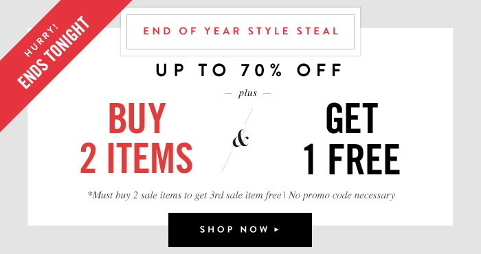 Up to 70% Off plus Buy 2 Items and Get 1 Free