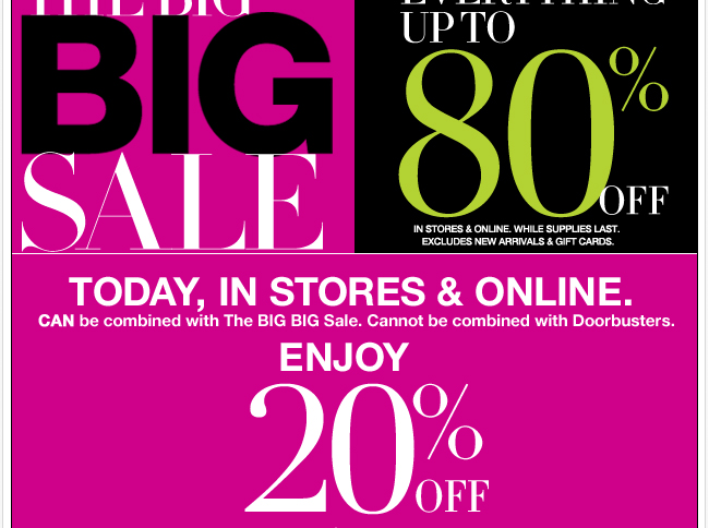 Everything Up to 80% Off + 20% Off $50 or More!