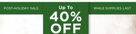 Post Holiday Sale - up to 40% off Everything!