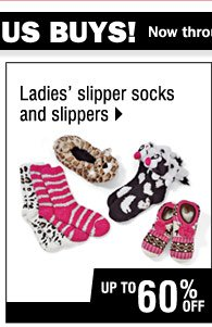 Up to 60% off Ladies slipper socks and slippers