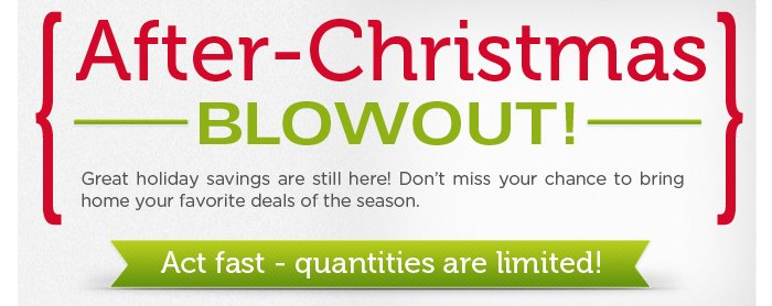 Great holiday savings are still here! Don't miss your chance to bring home your favorite deals of the season with our After-Christmas Blowout. Act fast - quantities are limited!