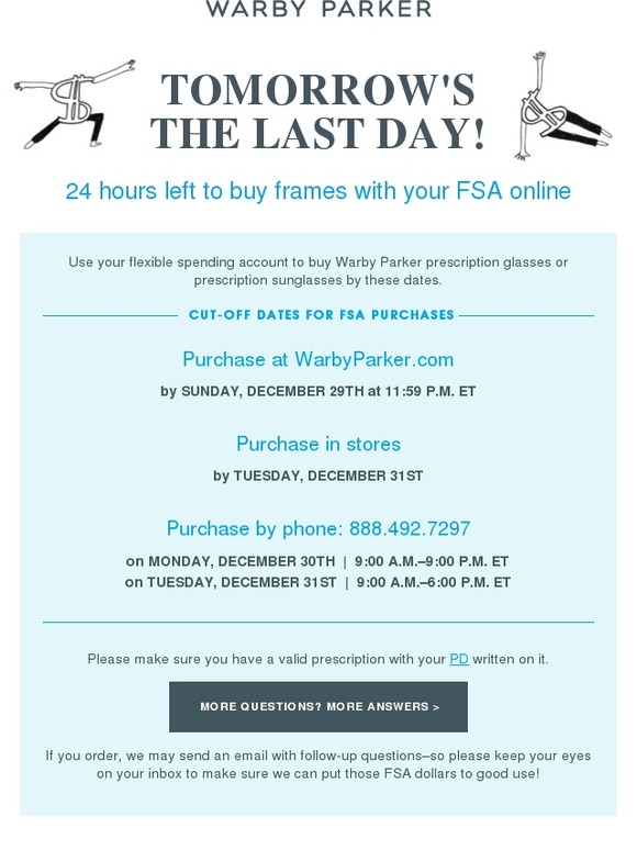 Warby Parker: One more day to use FSA dollars online! | Milled