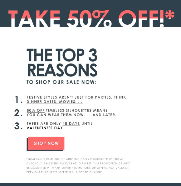 Take 50% Off All Holiday Styles!