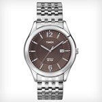Timex T2N848 Men's Elevated Classics Dress Textured Brown Dial Stainless Steel Expansion Bracelet Watch