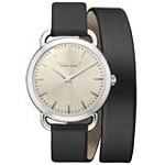 Caravelle 43L163 Womens New York Black Leather Strap Beige Dial Quartz Watch