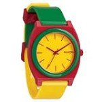Nixon A1191114 Men's The Time Teller P Rasta Yellow Dial Plastic Strap Watch