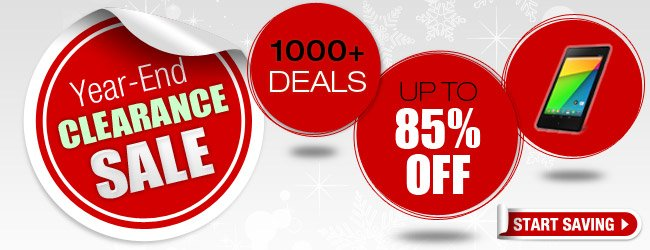 year-end, clearance, 1000 plus deals, up to 85 percent off. start saving.